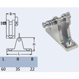 RVS dekplaat 90gr. met uitneembare pin.