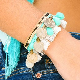 Peacebird Leather Bracelet Coin - Turquoise