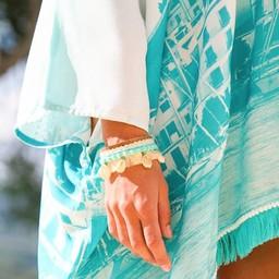 Peacebird Leather Bracelet Shell - Turquoise