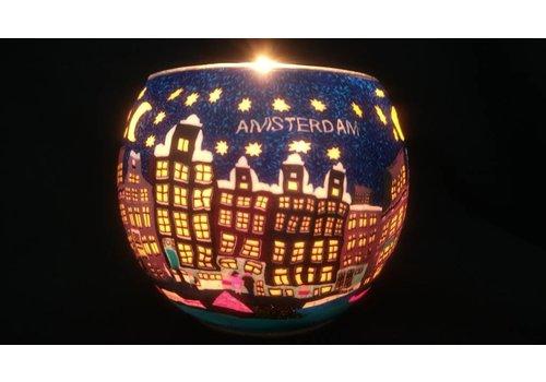 Leuchtglas Windlicht Amsterdamse grachten bij nacht