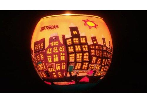 Leuchtglas Windlicht Amsterdamse grachten