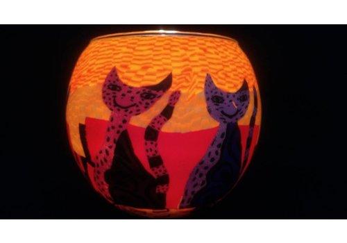 Leuchtglas Windlicht Katten