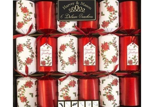 Harvey & Mason 6 DELUXE WHITE/RED POINSETTIA SEASON'S GREETINGS