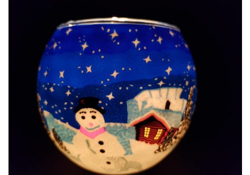 Leuchtglas Windlicht  Sneeuwpop