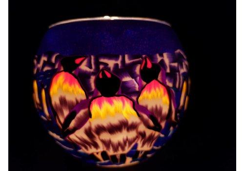 Leuchtglas Windlicht  Pinguin