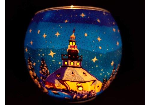 Leuchtglas Windlicht  Kerk Seiffen