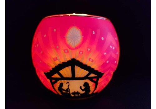 Leuchtglas Windlicht  Nativity