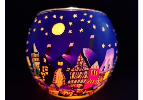 Leuchtglas Windlicht  Kerstmarkt