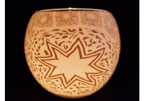 Leuchtglas Windlicht witte ster