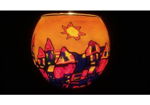 Leuchtglas Windlicht  Hundertwasser