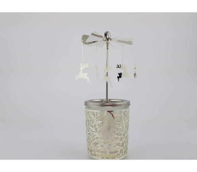 Windlicht Karussel Rentier Silber