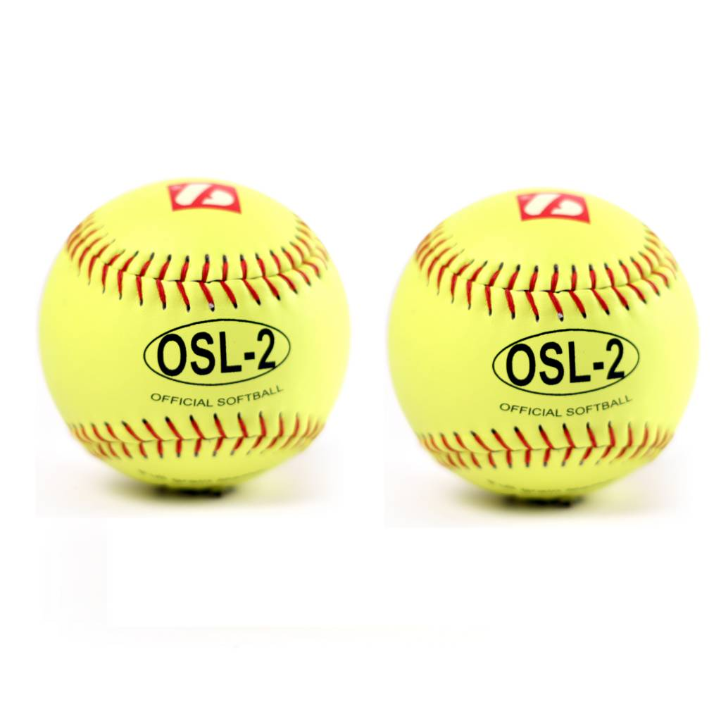"OSL-2 Competition softball, size 12"", yellow, 2 pieces"