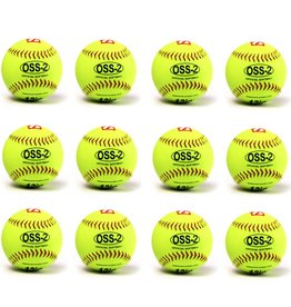 "OSS-2 Practice softball ball, soft touch, size 12"", white, 1 dozen"