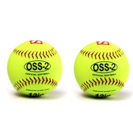 "OSS-2 Practice softball ball, soft touch, size 12"", yellow, 2 pieces"