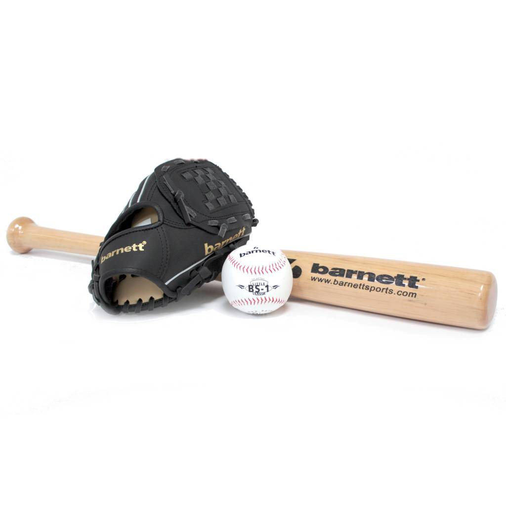 "BGBW-3 Initiation baseball set, youth - Ball, Glove, Wooden bat (BB-W 25"", JL-102 10,2"", BS-1 9"")"