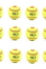 "OSL-1 High competition softball, size 12"", yellow, 1 dozen"