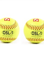 "OSL-1 High competition softball, size 12"", yellow, 2 pieces"