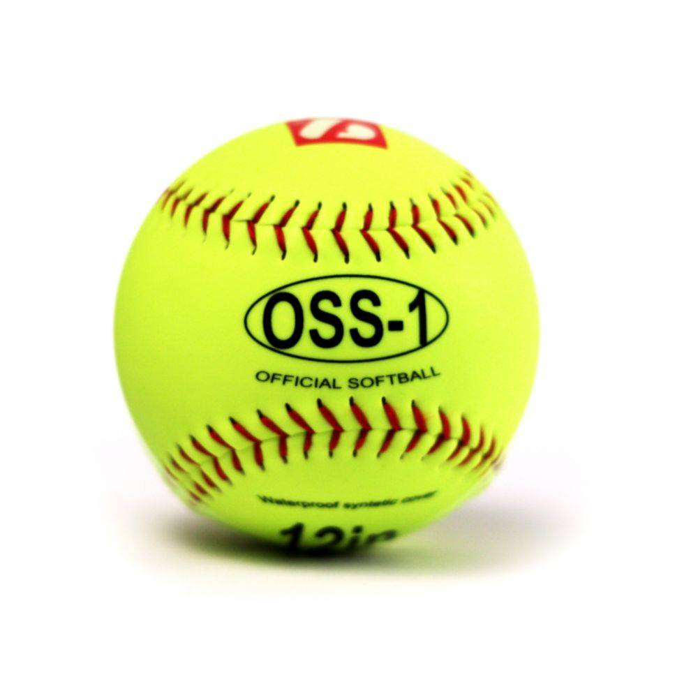 "OSS-1 Practice softball ball, size 12"", yellow, 1 dozen"