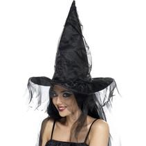 Zwart Heksenhoed met net