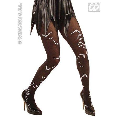 Panty zwart met vleermuizen