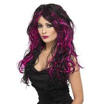 Gothic bruid pruik zwart/roze