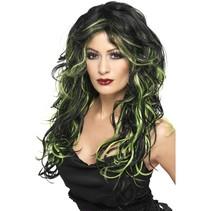 Gothic Vampier pruik zwart/groen