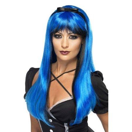 Betoverende pruik electric blue
