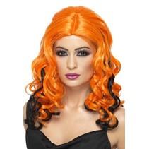 Halloween Heksenpruik oranje/zwart
