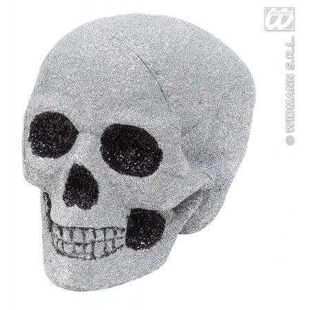 Glitter schedel zilver 19cm