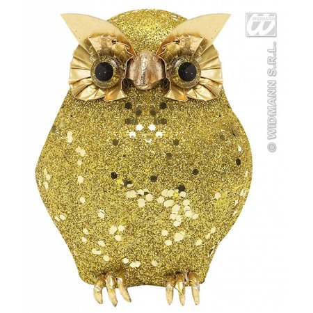 Glitter uil goud 10,5cm