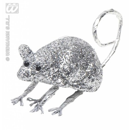 Glitter muis zilver 8,5cm