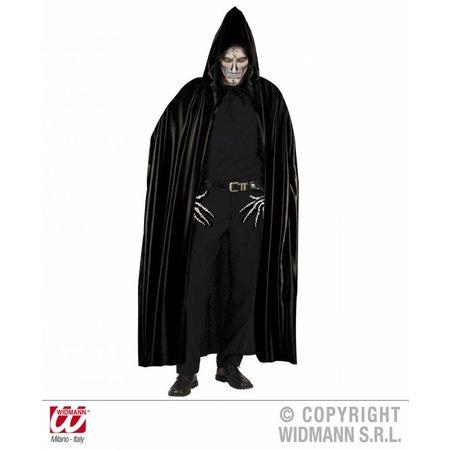 Lange zwarte cape met kap 142cm