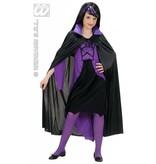 Kindercape zwart met paarse kraag