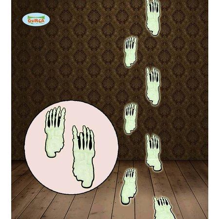 Fluorisende voetprints skeleton 15 stuks