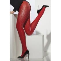 Panty rood met zilver glitter
