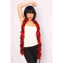Boa sjawl zwart/rood