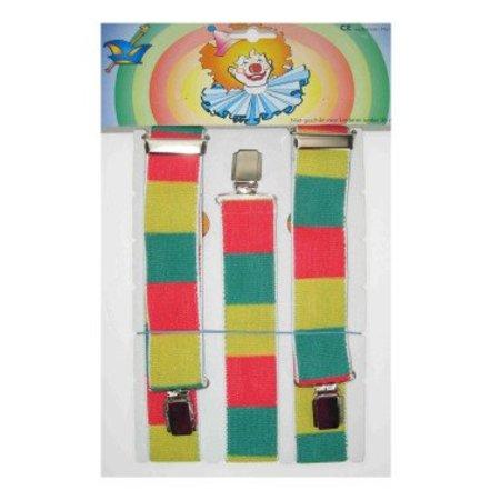 Bretels rood/geel/groen geblokt
