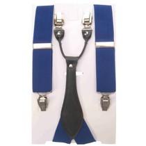 Bretel luxe blauw met leder