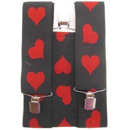 Bretel zwart met rode hartjes