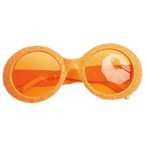 Bril disco glitter neon oranje