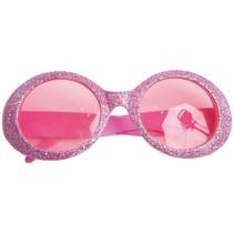 Bril Disco glitter roze