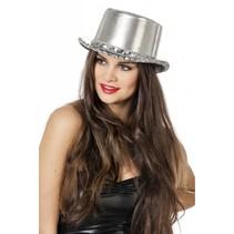 Hoge hoed lamee met paillettenband zilver