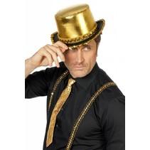 Hoge hoed lamee met paillettenband goud