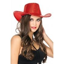 Cowboy glamour pailletten hoed rood