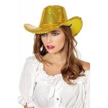 Cowboy glamour hoed pailletten goud