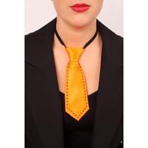 Mini stropdasje oranje met strass-stenen