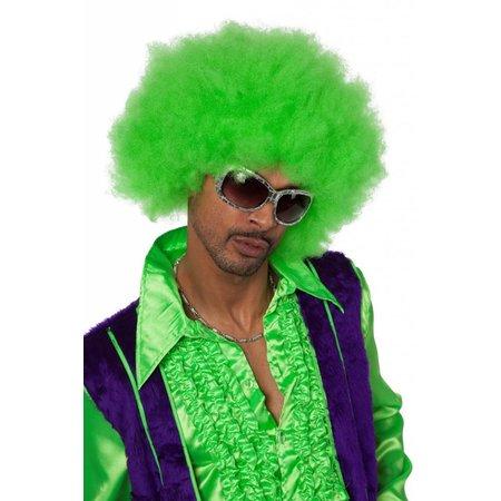 Afro pruik neon groen
