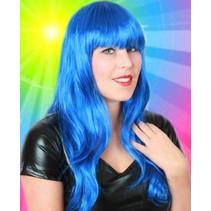 Pruik sensation long style blauw