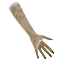 Nethandschoen vingerloos wit