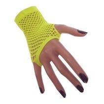 Nethandschoenen kort fluor geel